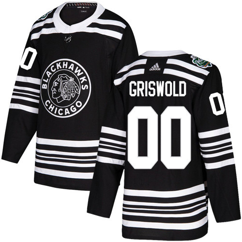 Adidas Blackhawks #00 Clark Griswold Black Authentic 2019 Winter Classic Stitched NHL Jersey