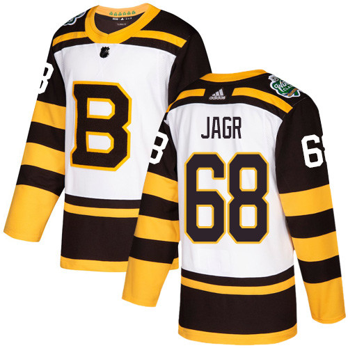 Adidas Bruins #68 Jaromir Jagr White Authentic 2019 Winter Classic Stitched NHL Jersey
