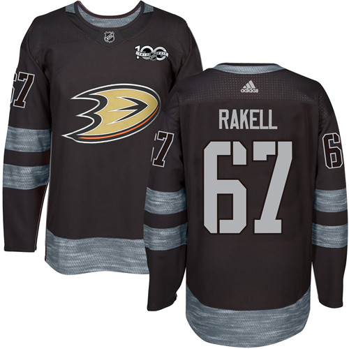Adidas Ducks #67 Rickard Rakell Black 1917-2017 100th Anniversary Stitched NHL Jersey