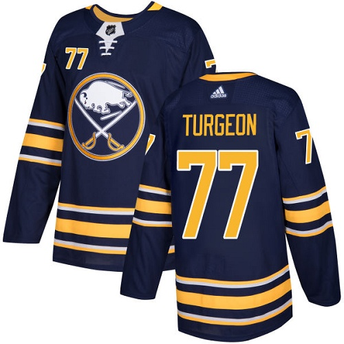 Adidas Sabres #77 Pierre Turgeon Navy Blue Home Authentic Stitched NHL Jersey