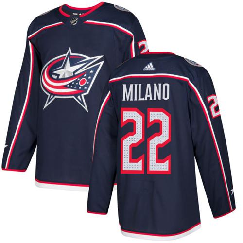 Adidas Blue Jackets #22 Sonny Milano Navy Blue Home Authentic Stitched NHL Jersey