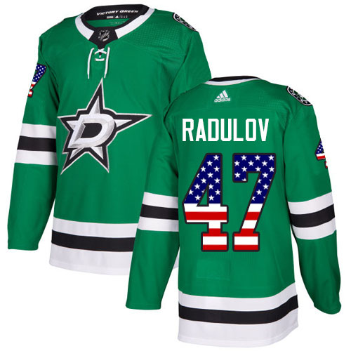Adidas Stars #47 Alexander Radulov Green Home Authentic USA Flag Stitched NHL Jersey