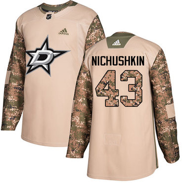 Adidas Stars #43 Valeri Nichushkin Camo Authentic 2017 Veterans Day Stitched NHL Jersey