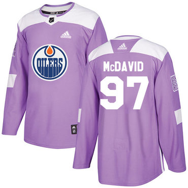 Adidas Edmonton Oilers #97 Connor McDavid Purple Authentic Fights Cancer Stitched NHL Jersey