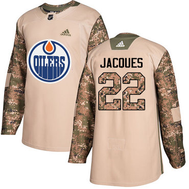 Adidas Edmonton Oilers #22 Jean-Francois Jacques Camo Authentic 2017 Veterans Day Stitched NHL Jersey