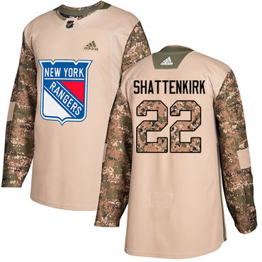 Adidas Rangers #22 Kevin Shattenkirk Camo Authentic 2017 Veterans Day Stitched NHL Jersey