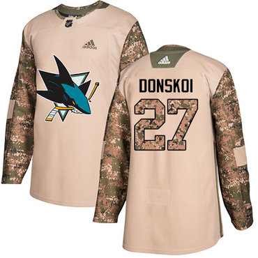 Adidas Sharks #27 Joonas Donskoi Camo Authentic 2017 Veterans Day Stitched NHL Jersey