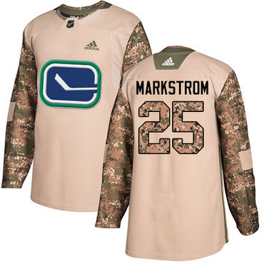Adidas Canucks #25 Jacob Markstrom Camo Authentic 2017 Veterans Day Stitched NHL Jersey