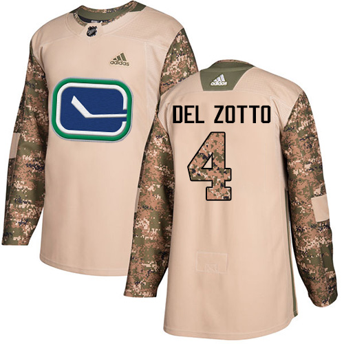 Adidas Canucks #4 Michael Del Zotto Camo Authentic 2017 Veterans Day Stitched NHL Jersey