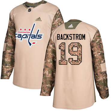 Adidas Capitals #19 Nicklas Backstrom Camo Authentic 2017 Veterans Day Stitched NHL Jersey