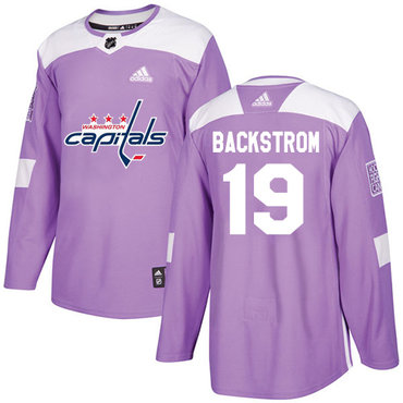 Adidas Capitals #19 Nicklas Backstrom Purple Authentic Fights Cancer Stitched NHL Jersey