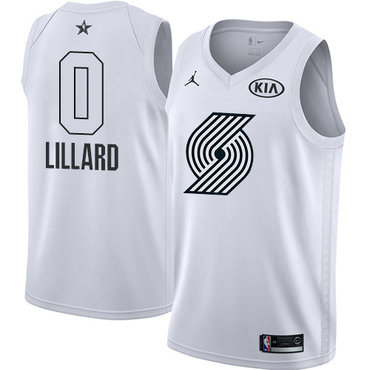 Nike Blazers #0 Damian Lillard White NBA Jordan Swingman 2018 All-Star Game Jersey