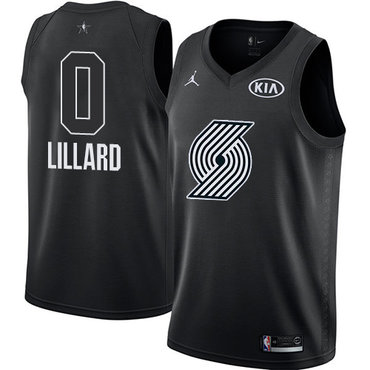 Nike Blazers #0 Damian Lillard Black NBA Jordan Swingman 2018 All-Star Game Jersey