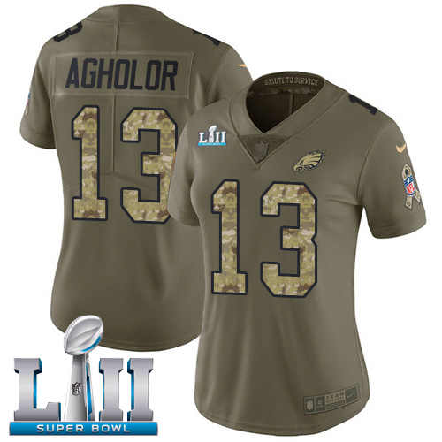Women's Nike Philadelphia Eagles #13 Nelson Agholor Olive Camo Super Bowl LII Stitched NFL Limited 2017 Salute to Service Jersey
