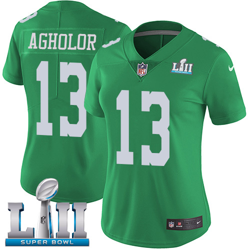 Women's Nike Philadelphia Eagles #13 Nelson Agholor Green Super Bowl LII Stitched NFL Limited Rush Jersey