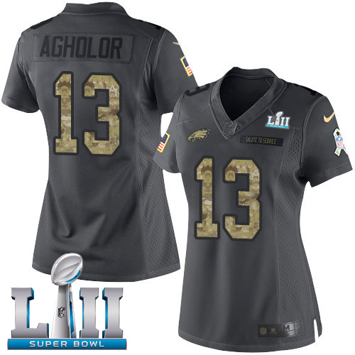 Women's Nike Philadelphia Eagles #13 Nelson Agholor Black Super Bowl LII Stitched NFL Limited 2016 Salute to Service Jersey