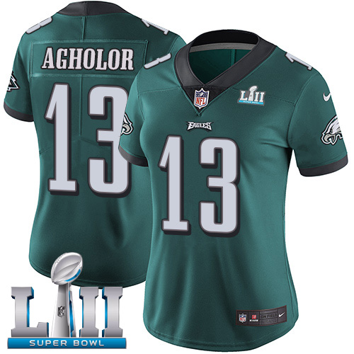 Women's Nike Philadelphia Eagles #13 Nelson Agholor Midnight Green Team Color Super Bowl LII Stitched NFL Vapor Untouchable Limited Jersey