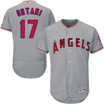 LA Angels of Anaheim #17 Shohei Ohtani Grey Flexbase Authentic Collection Stitched MLB Jersey