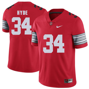 Ohio State Buckeyes 34 Carlos Hyde Red 2018 Spring Game College Football Limited Jersey