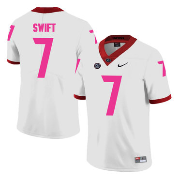 Georgia Bulldogs 7 D'Andre Swift White Breast Cancer Awareness College Football Jersey