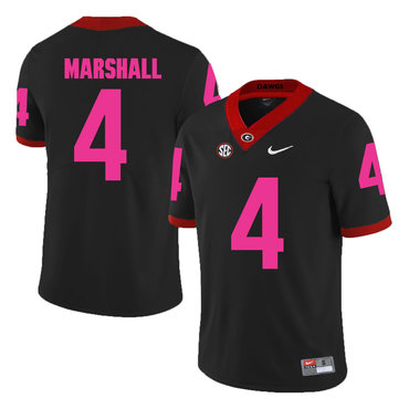 Georgia Bulldogs 4 Keith Marshall Black Breast Cancer Awareness College Football Jersey