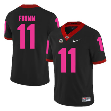 Georgia Bulldogs 11 Jake Fromm Black Breast Cancer Awareness College Football Jersey