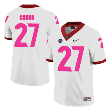 Georgia Bulldogs 27 Nick Chubb White Breast Cancer Awareness College Football Jersey