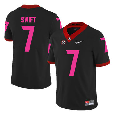 Georgia Bulldogs 7 D'Andre Swift Black Breast Cancer Awareness College Football Jersey