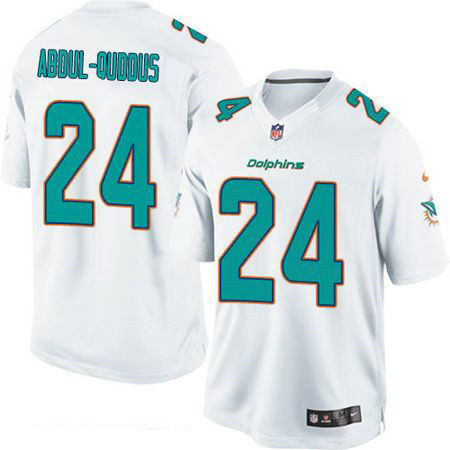 Men's Miami Dolphins #24 Isa Abdul-Quddus White Road Stitched NFL Nike Game Jersey