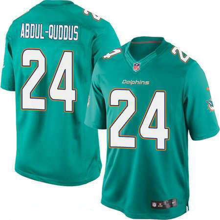 Men's Miami Dolphins #24 Isa Abdul-Quddus Green Team Color Stitched NFL Nike Game Jersey