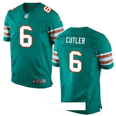 Men's Miami Dolphins #6 Jay Culter Aqua Green Alternate Stitched NFL Nike Game Jersey