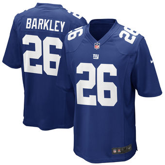 Men's New York Giants #26 Saquon Barkley Nike Royal 2018 NFL Draft First Round Pick Game Jersey