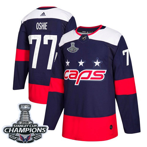 Adidas Washington Capitals #77 T.J. Oshie Navy Authentic 2018 Stadium Series Stanley Cup Final Champions Stitched NHL Jersey