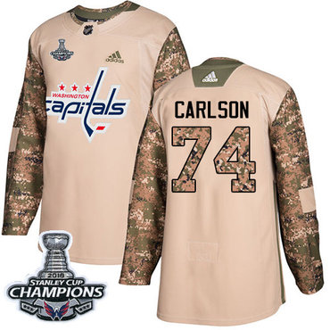 Adidas Washington Capitals #74 John Carlson Camo Authentic 2017 Veterans Day Stanley Cup Final Champions Stitched NHL Jersey