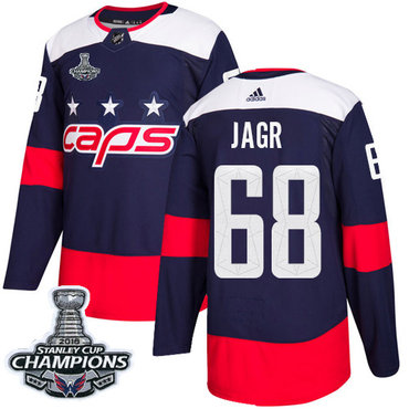 Adidas Washington Capitals #68 Jaromir Jagr Navy Authentic 2018 Stadium Series Stanley Cup Final Champions Stitched NHL Jersey