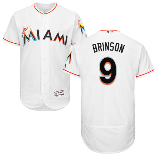 Miami marlins #9 Lewis Brinson White Flexbase Authentic Collection Stitched Baseball Jersey