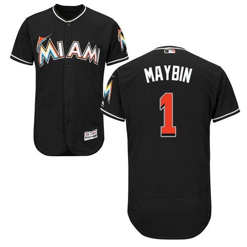 Miami marlins #1 Cameron Maybin Black Flexbase Authentic Collection Stitched Baseball Jersey