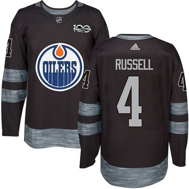 Adidas Edmonton Oilers #4 Kris Russell Black 1917-2017 100th Anniversary Stitched NHL Jersey