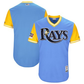 Men's Tampa Bay Rays Blank Majestic Light Blue 2018 Players' Weekend Authentic Team Jersey
