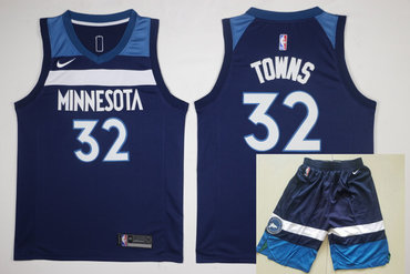 Men's Minnesota Timberwolves #32 Karl-Anthony Towns New Navy Blue 2017-2018 Nike Swingman Stitched NBA Jersey With Shorts