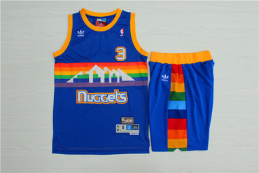 Nuggets #3 Allen Iverson Blue Hardwood Classics Jersey(With Shorts)
