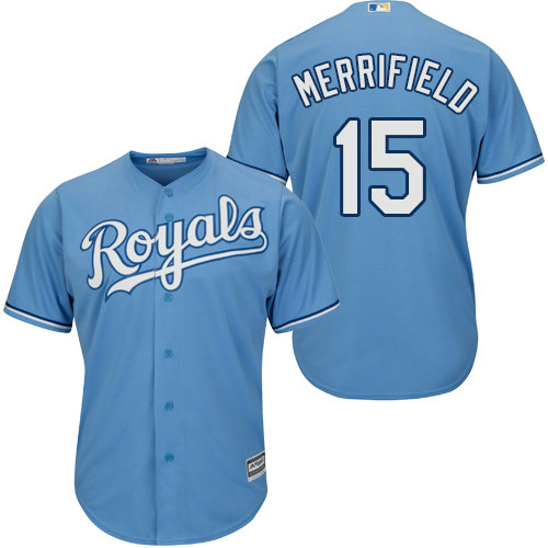 Kansas City Royals 15 Whit Merrifield Light Blue New Cool Base Alternate 1 Stitched Baseball Jersey