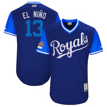 Men's Kansas City Royals 13 Salvador Perez El Nino Majestic Royal 2018 Players' Weekend Authentic Jersey