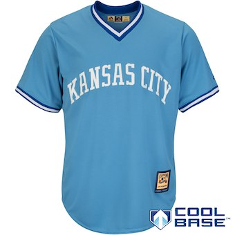 Men's Kansas City Royals Majestic Blank Light Blue Alternate Cooperstown Cool Base Team Jersey