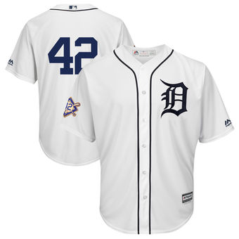 Men's Detroit Tigers Majestic White 42 Jackie Robinson Day Official Cool Base Jersey