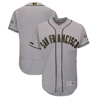 Men's San Francisco Giants Blank Majestic Gray 2018 Memorial Day Authentic Collection Flex Base Team Jersey