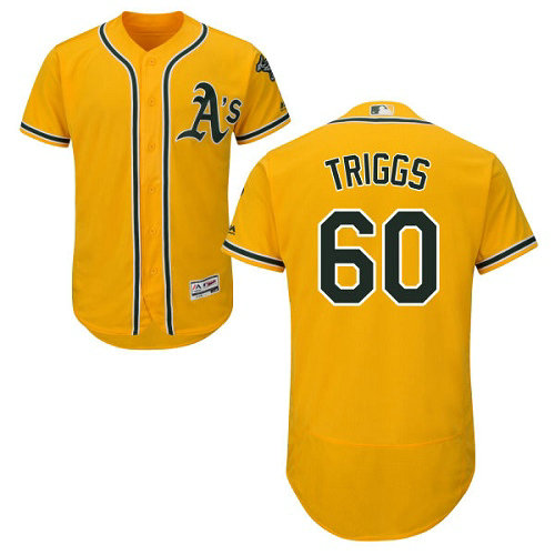 Oakland Athletics 60 Andrew Triggs Gold Flexbase Authentic Collection Stitched Baseball Jersey
