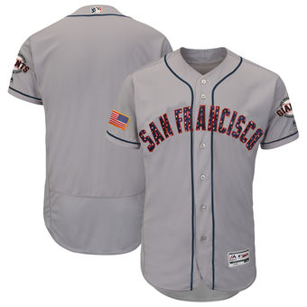 San Francisco Giants Majestic Blank Gray 2018 Stars & Stripes Flex Base Team Jersey