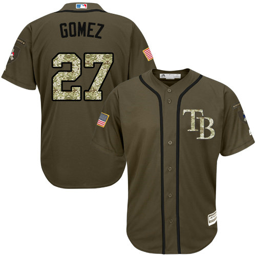 Tampa Bay Rays #27 Carlos Gomez Green Salute to Service Stitched Baseball Jersey