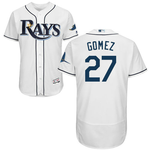 Tampa Bay Rays #27 Carlos Gomez White Flexbase Authentic Collection Stitched Baseball Jersey